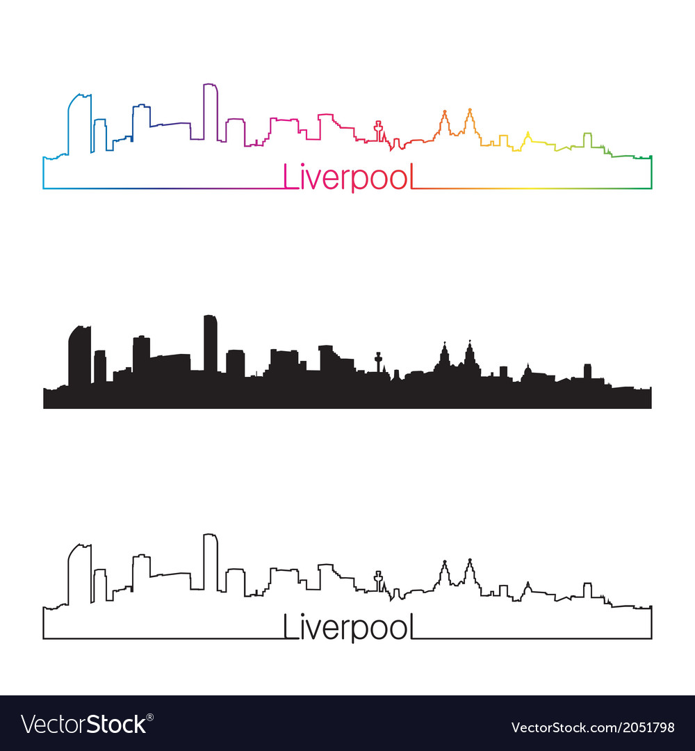 Liverpool skyline linear style with rainbow vector | Price: 1 Credit (USD $1)