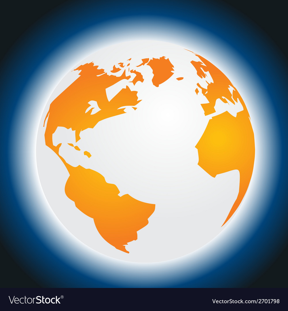 Orange planet earth isolated on blue background vector | Price: 1 Credit (USD $1)