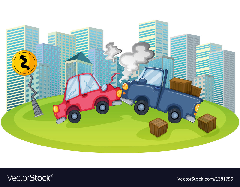 A car accident in front of the high buildings vector | Price: 1 Credit (USD $1)