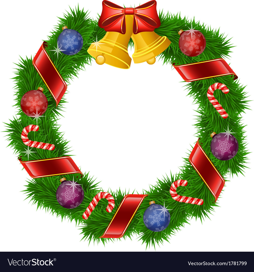 Christmas wreath isolated on white background vector | Price: 1 Credit (USD $1)
