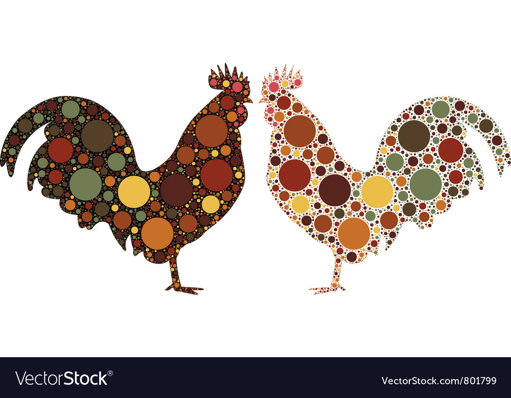Dotted rooster vector | Price: 1 Credit (USD $1)