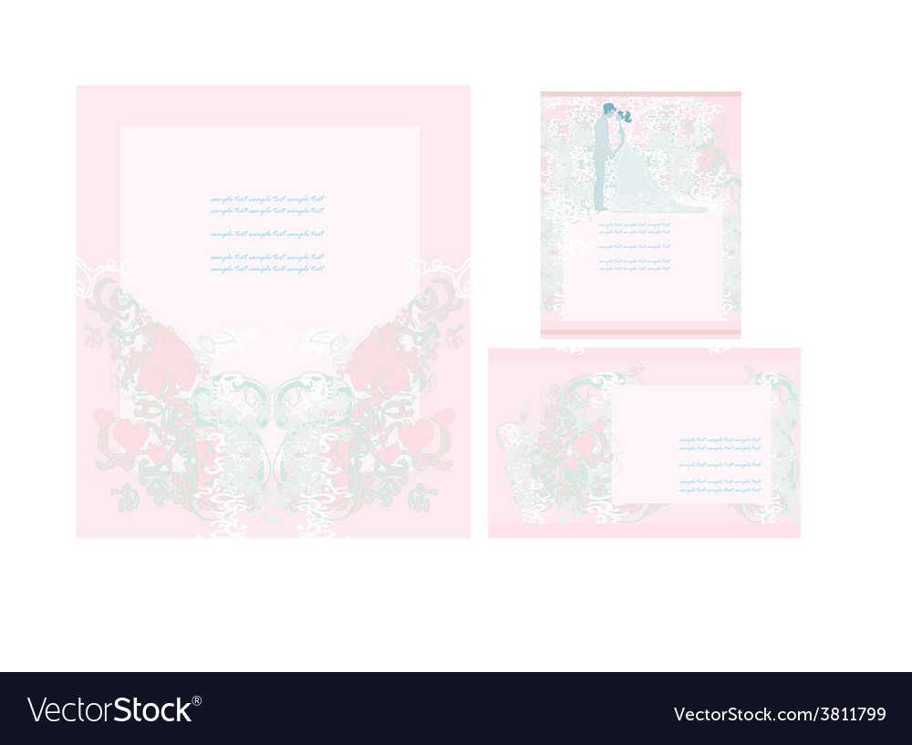 Elegant wedding invitation card set vector | Price: 1 Credit (USD $1)