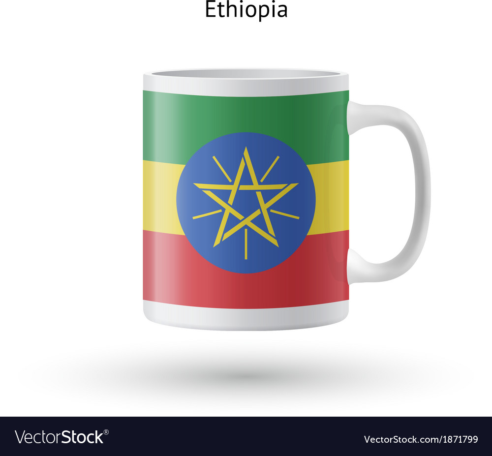 Ethiopia flag souvenir mug on white background vector | Price: 1 Credit (USD $1)