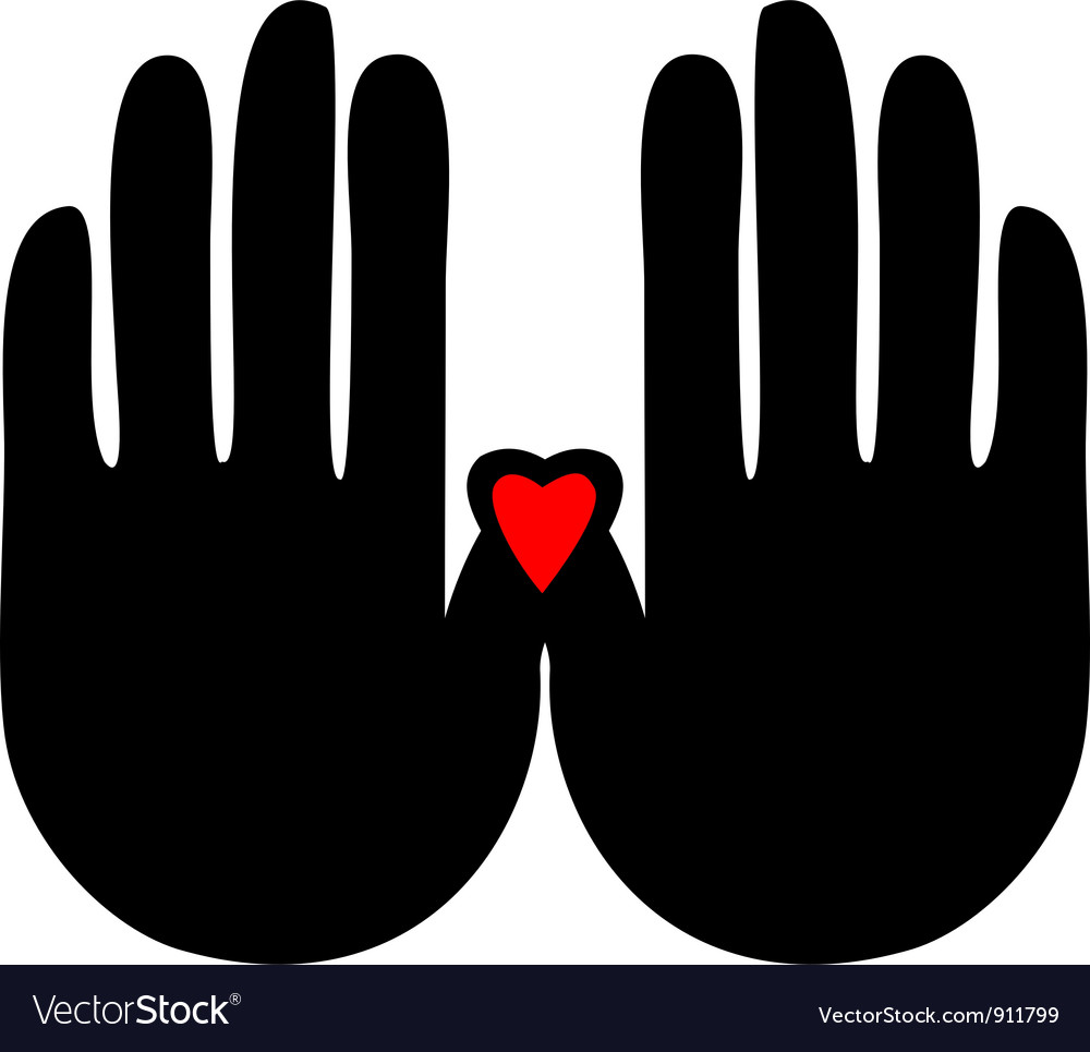 Hands with heart logo vector | Price: 1 Credit (USD $1)