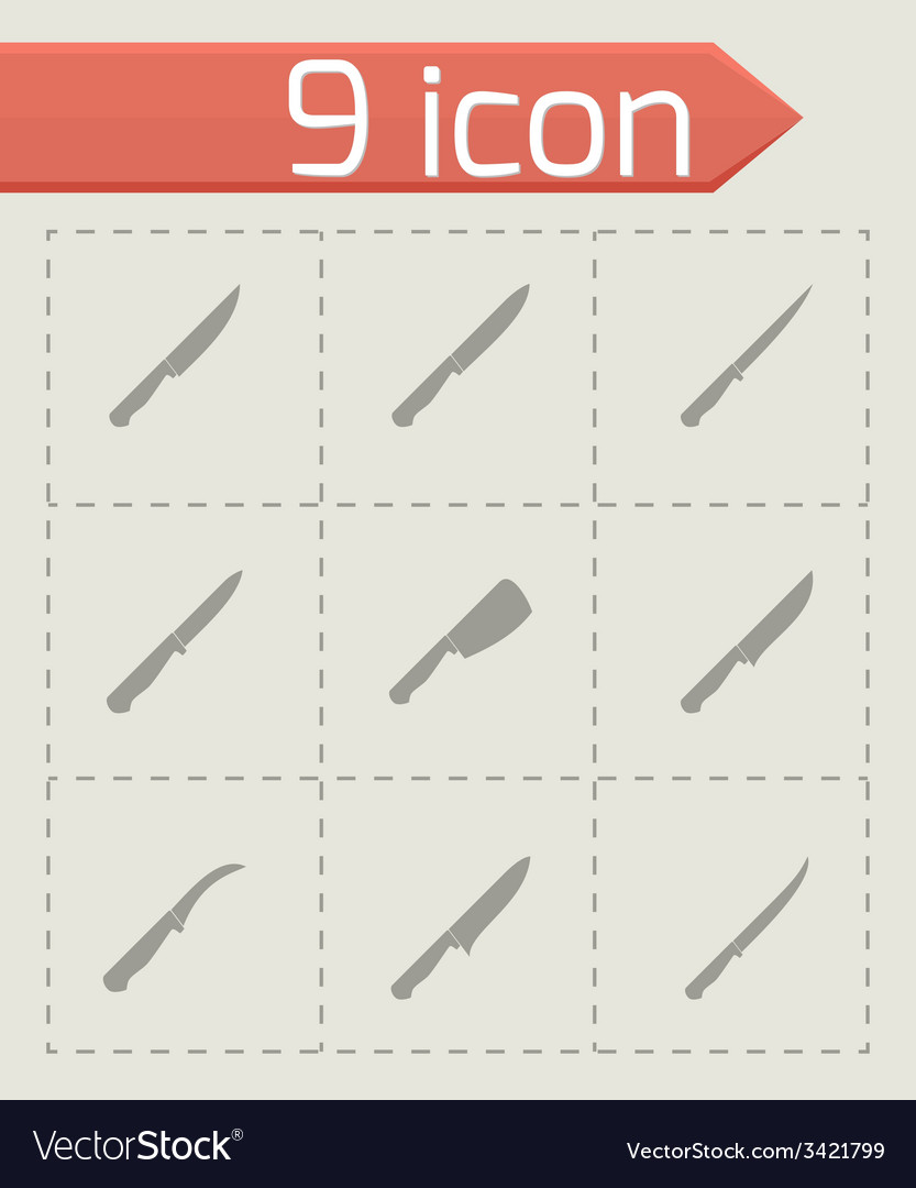 Kitchen knife icon set vector | Price: 1 Credit (USD $1)