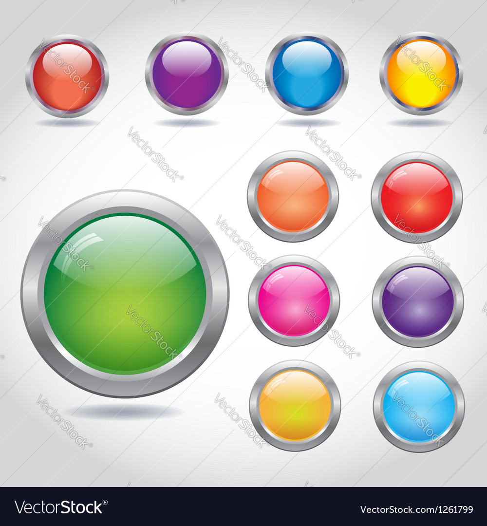 Round blank web buttons with metal rings vector | Price: 1 Credit (USD $1)