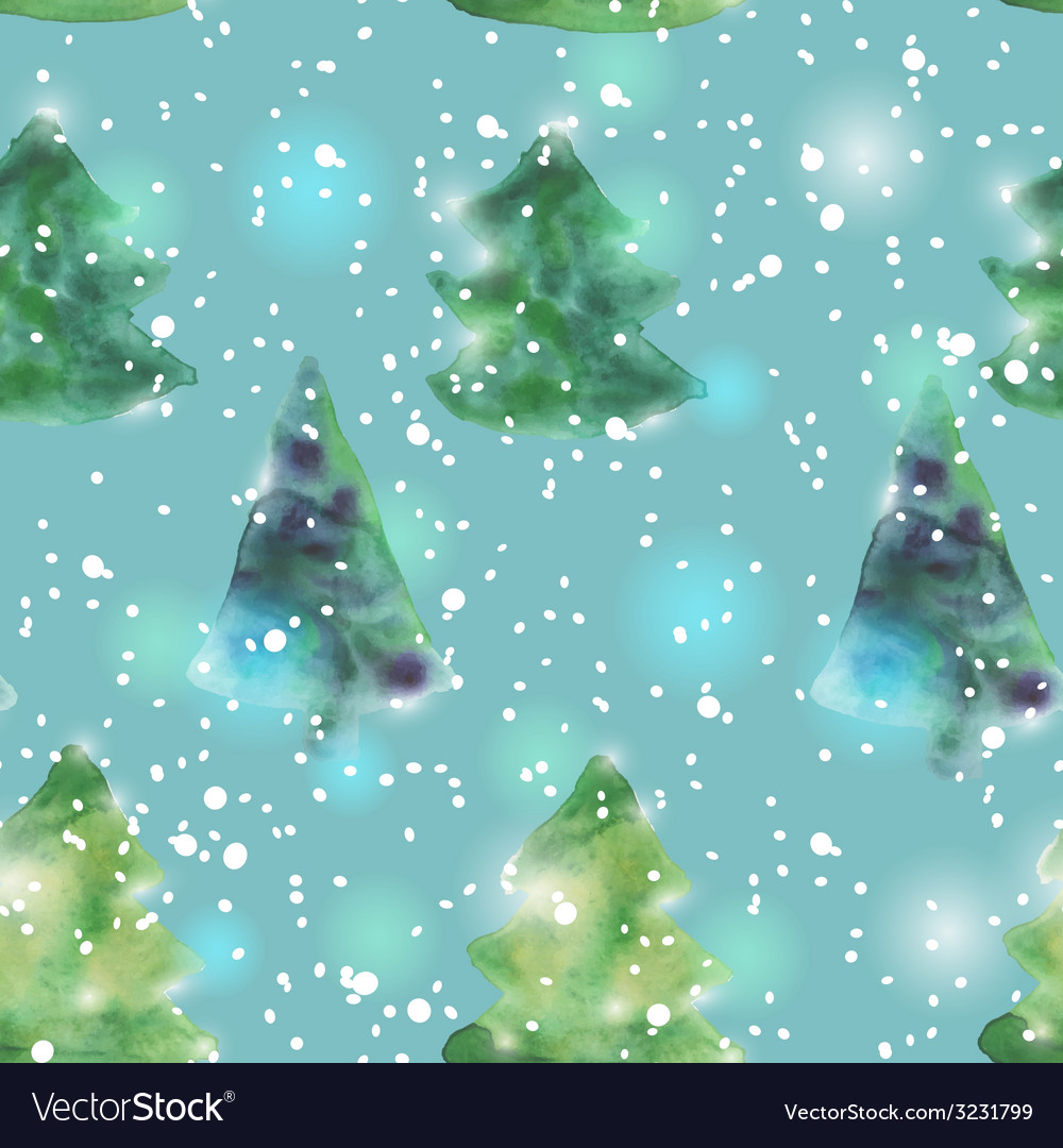 Seamless pattern with watercolour christmas trees vector | Price: 1 Credit (USD $1)