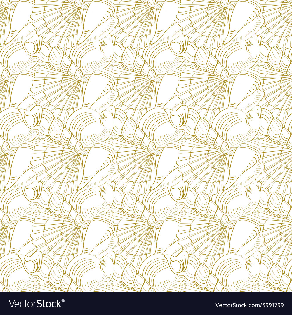 Seashells seamless pattern gold vector | Price: 1 Credit (USD $1)