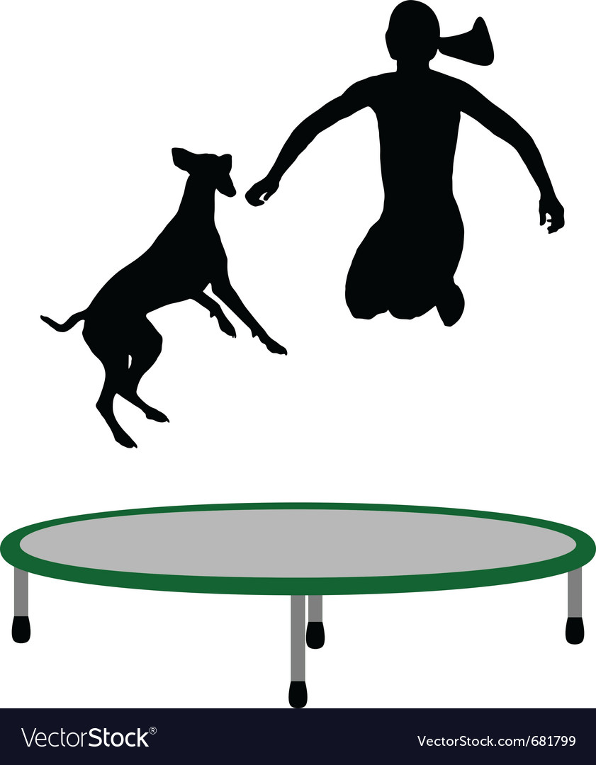 Woman and dog trampoline vector | Price: 1 Credit (USD $1)