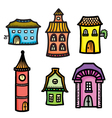 Sketch of cute cartoon colorful houses vector