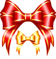 Red and gold gift bow and ribbon vector
