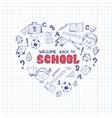 School objects in the shape of heart vector