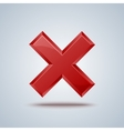 Reject cross mark sign on gray background vector