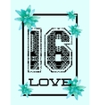 Trendy t-shirt design with number 16 vector