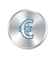 Euro silver sign isolated currency icon vector