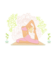 Beautiful woman doing youga exercises vector