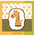 Birthday card with giraffe toy vector