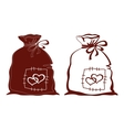 Bag with hearts silhouette set vector