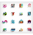 3d flat geometric abstract business icon set vector