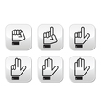 Counting hand signs - buttons isolated vector
