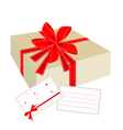 A gift box with red ribbon and blank card vector