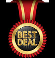 Best deal golden label with red ribbons vector