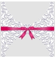 Lace border and red ribbon vector