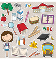 School girl with tools vector