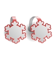Red advertising wobblers shaped like snowflakes vector