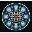 Polish traditional folk art pattern in circle vector