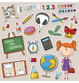 School girl with different education tools vector