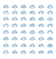 Big set of forty-six blue cloud shapes with white vector