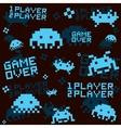 Black space invaders pattern vector