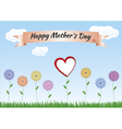 Mothers day with flowers heart ribbon and landscap vector