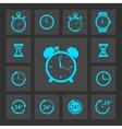 Blue clock icons set vector