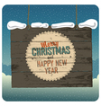Christmas wooden signboard with clouds vector