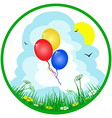Colorful balloons on summer background vector