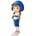 A baseball player in her blue uniform vector