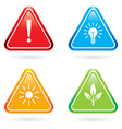 Triangle signs or icons on white background vector