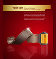 Camera film roll on red background vector