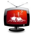 Tv icon with christmas village vector