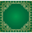 Green background with vintage gold ornament vector