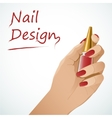 Woman hand holding a bottle with nail lacquer vector