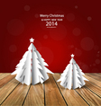 Merry christmas greeting card with origami vector