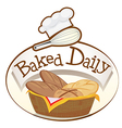 A baked daily label with a basket of breads vector