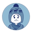 Character sad boy in winter hat and scarf vector
