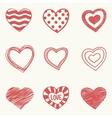 Set of nine hand drawn hearts vector