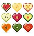 Fruit hearts vector
