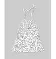 White dress with floral elements on a grey vector