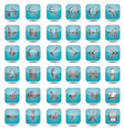 Blue web icons set vector